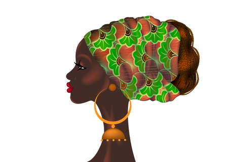 Afro hairstyle, beautiful portrait African woman in wax print fabric turban, diversity concept. Black Queen, ethnic head tie for afro braids and kinky curly hair. Vector isolated on white background