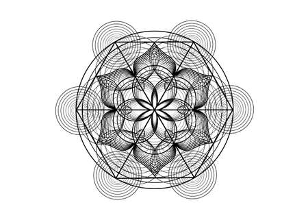 Seed of life symbol Sacred Geometry. Logo icon Geometric mystic mandala of alchemy esoteric Flower of Life. Vector black lines, Yantra, chakra or lotus divine meditative amulet isolated on white