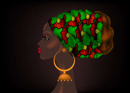 Afro hairstyle, beautiful portrait African woman in wax print fabric turban, diversity concept. Black Queen, ethnic head tie for afro braids and kinky curly hair. Vector isolated on black background 向量圖像