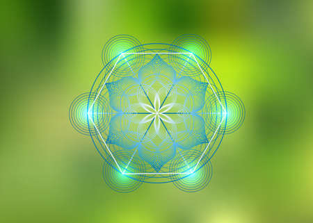 Seed of life symbol Sacred Geometry. Logo icon Geometric mystic mandala of alchemy esoteric Flower of Life. Vector purple lines, Yantra, chakra or lotus divine meditative amulet isolated on green 向量圖像