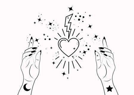 Mystical Woman Hands alchemy esoteric magic space stars, lightning and sacred heart symbol. Boho style Logo in black outline tattoo icon. Spiritual occultism mystic wicca sign Vector isolated on white