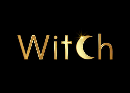Gold text witch, golden witchcraft and crescent moon magic print, vector isolated on a black background. Esoteric template and wicca symbol, magical creative concept 向量圖像