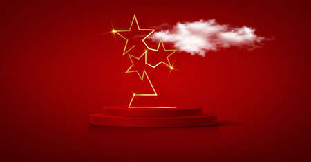 3D winner podium, red carpet party gold stars award concept. Banner Hollywood golden stars prize silhouette. Films and cinema symbol stock, Academy award vector isolated on red background