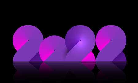 2022 Neon Banner Happy New Year on Dark Pink and purple color. Fashion gradient color numbers. Christmas Poster Design. Neon graphic, light colorful effect, modern futuristic black background