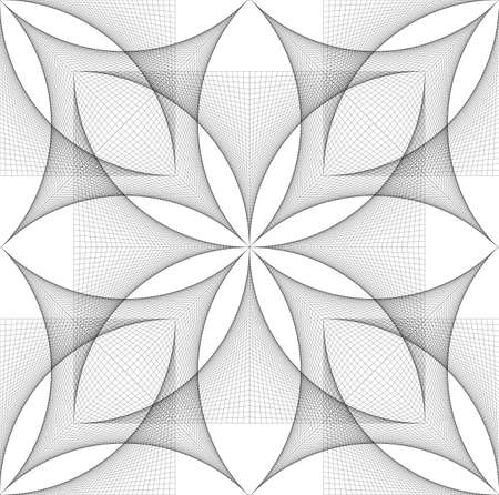 Seamless Flower of Life symbol banner template, geometric wireframe Sacred Lotus Flower, thread art, floral Sacred Geometry in String black line grid isolated on white background