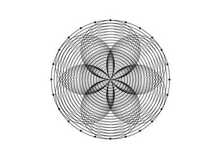 Seed of life symbol Sacred Geometry. Logo icon  Geometric mystic mandala of alchemy esoteric Flower of Life. Interlaced black circles, vector lotus meditative amulet isolated on white background