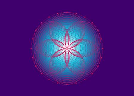 Seed of life symbol Sacred Geometry. Logo icon  Geometric mystic mandala of alchemy esoteric Flower of Life. Interlaced pink circles, vector lotus meditative amulet isolated on purple background 向量圖像