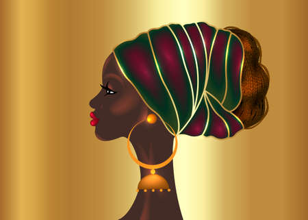 Afro hairstyle, beautiful portrait African woman in wax print fabric turban, diversity concept. Black Queen, ethnic head tie for afro braids and kinky curly hair. Vector isolated on gold background