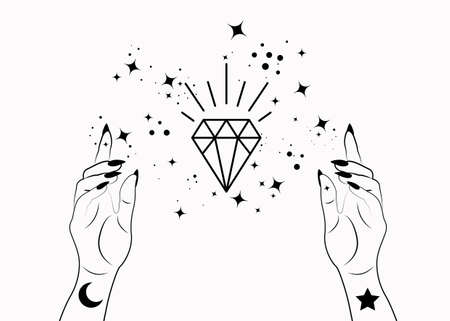 Mystical Woman Hands alchemy esoteric magic space stars, crystal symbol, Sacred Geometry. Boho style Logo in black outline tattoo icon. Spiritual occultism mystic wicca sign. Vector isolated on white 向量圖像