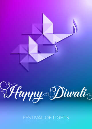 Happy Diwali Celebration template in Origami paper Graphic design of Indian Diya Oil Lamps, Modern Flat Design. Colorful Festival of Lights. Vector banner art style, purple background