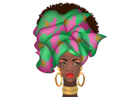 Afro hairstyle beautiful portrait African woman in wax print fabric turban, gold jewelry, diversity concept. Black Queen, ethnic head tie for afro kinky curly hair. Vector isolated on white background 向量圖像