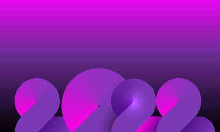 2022 Neon Banner Happy New Year on Dark Pink and purple color. Fashion gradient color numbers. Christmas Poster Design. Neon graphic, light colorful effect, modern futuristic background 向量圖像