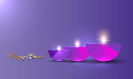 Happy Diwali Festival of Lights India Celebration colorful template. Graphic banner design of Indian Diya Oil Lamps, Modern Design in vibrant colors. Vector art style, gradient color background