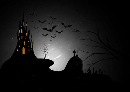 Halloween castle and cemetery, night party background with bats and fog, vector illustration. Scary party invitation flyer template with horror symbols