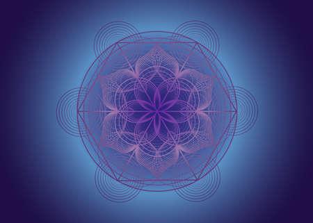 Seed of life symbol Sacred Geometry. Logo icon Geometric mystic mandala of alchemy esoteric Flower of Life. Vector purple lines, Yantra, chakra or lotus divine meditative amulet isolated on blue 向量圖像