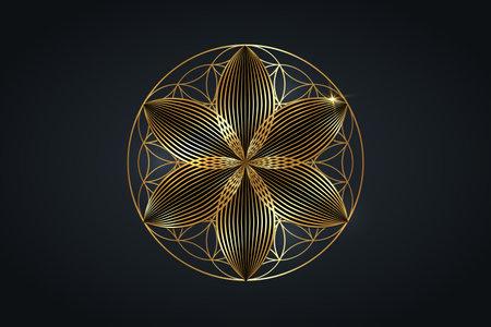 flower of life, gold spiritual mandala, Sacred Geometry. Bright golden symbol of harmony and balance. Mystical talisman, luxury round vector isolated on black background