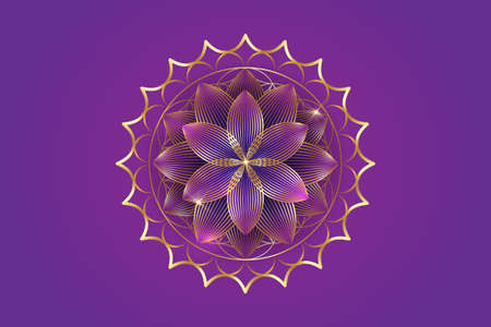 seventh chakra Sahasrara logo template. Gold Crown chakra symbol, golden luxury sacral lotus sign meditation, flower of life, yoga round mandala icon, vector isolated on purple background