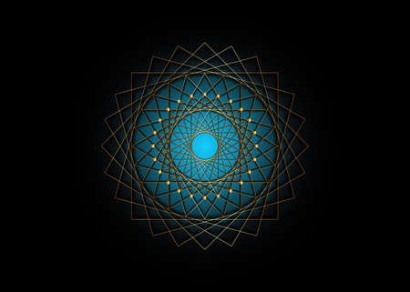 Gold Circle mandala, Blue Sacred Geometry, round frame sign geometric logo design, intertwining of square and triangular shapes, golden line drawing mystic icon vector isolated on black background 向量圖像