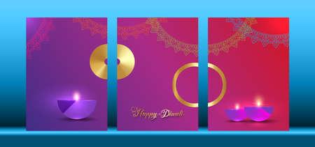 Happy Diwali Festival of Lights India Celebration set colorful template. Vertical banner design of Indian Diya Oil Lamps, Modern Design in vibrant color. Vector Indian art style, gradient background 向量圖像