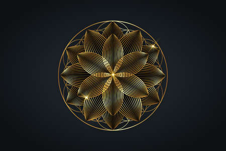 flower of life, gold spiritual mandala, Sacred Geometry. Bright golden lotus symbol of harmony and balance. Mystical talisman, luxury round vector isolated on black background