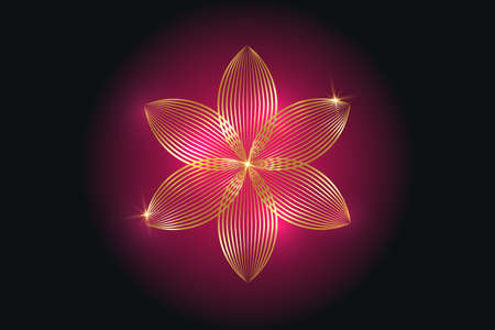 flower of life, gold spiritual mandala, Sacred Geometry. Bright golden symbol of harmony and balance. Mystical talisman, luxury round vector isolated on purple background