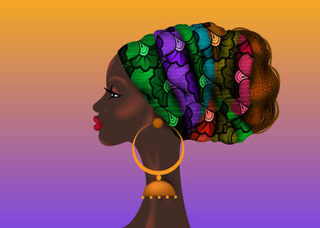 Afro hairstyle, beautiful portrait African woman in wax print fabric turban, diversity concept. Black Queen, ethnic head tie for afro braids and kinky curly hair vector isolated on colorful background
