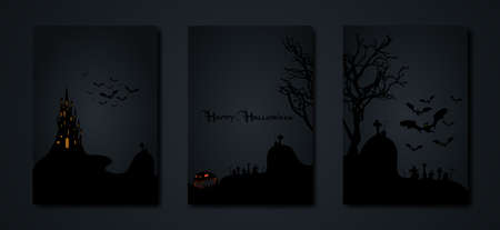 Halloween party, set cards spooky dark background, silhouettes of characters and scary bats with gothic haunted castle, horror theme concept, scary pumpkin and dark graveyard, vector templates