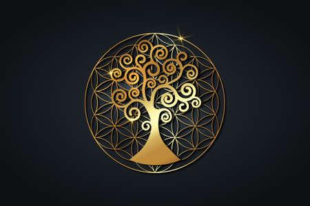 tree of life and flower of life, gold spiritual mandala, Sacred Geometry. Bright golden symbol of harmony and balance.