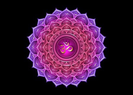 seventh chakra Sahasrara  template. Crown chakra symbol, Purple lotus sacral sign meditation, yoga gold round mandala icon. Gold symbol Om in the center, vector isolated on black background