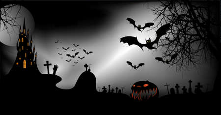 Halloween party banner, spooky dark background, silhouettes of characters and scary bats with gothic haunted castle, horror theme concept, scary pumpkin and dark graveyard, vector templates 向量圖像