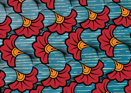 African Wax Print fabric, Ethnic handmade ornament design, tribal pattern motifs floral elements. Vector texture, afro colorful textile Ankara fashion style. Pareo wrap dress wedding red flowers