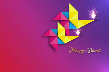 Happy Diwali Festival of Lights Celebration colorful template in Origami paper Graphic design of Indian Diya Oil Lamps, Modern Flat Design. Vector banner art style, gradient color background