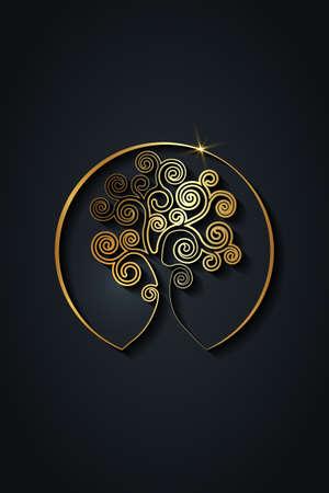 tree of life logo design, gold spiritual mandala, Sacred Geometry. Bright golden symbol of harmony and balance. Mystical talisman, luxury round sign vector isolated on black background