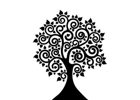 The Bodhi tree logo template, Tree of life concept, Sacred Vesak day silhouette icon vector isolated on white background