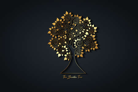 The Bodhi tree gold logo template, Tree of life concept, Sacred Fig with heart shaped leaves, Vesak day, golden luxury silhouette, icon vector isolated on black background
