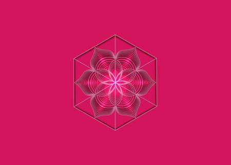 Seed of life symbol Sacred Geometry. Logo icon Geometric mystic mandala of alchemy esoteric Flower of Life. Vector purple lines, Yantra, chakra or lotus divine meditative amulet isolated on pink 向量圖像