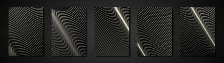 Modern structure black cover design set. Abstract wavy line pattern, curves. Creative white stripe vector collection for business background page, brochure template, luxury booklet, vertical flyer Vettoriali