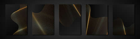Set black cards abstract engraving golden texture. Wavy etching background. Luxury Invitation or cover design template, wavy gold stripes and copy space. Vector illustration