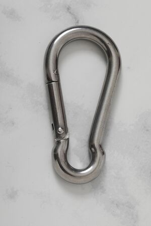 safety metal carabiner security isolated keychain Stockfoto