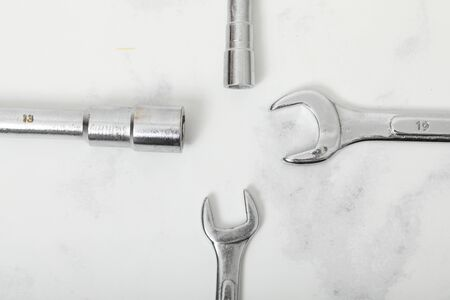 Wrench on white background iron construction equipement