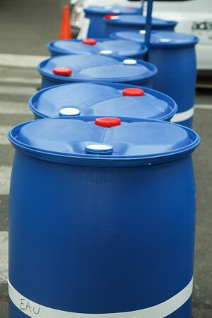 Chemical Plant, Plastic Storage Drums outdoor toxic barrel