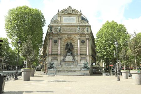 beautiful Saint Michel fountain in Paris beautiful statue