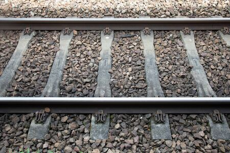 nice Iron rail perspective for train in France, outdoor metal 版權商用圖片 - 147137259