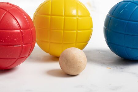 plastic colored ball for child. outdoor game on studio white background 版權商用圖片 - 147137325