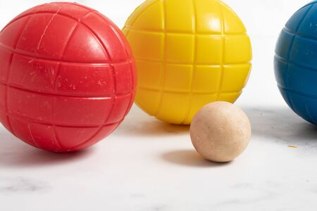 plastic colored ball for child. outdoor game on studio white background