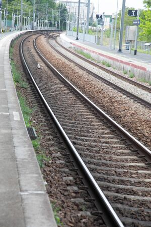 nice Iron rail perspective for train in France, outdoor metal