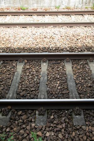 nice Iron rail perspective for train in France, outdoor metal 版權商用圖片 - 147137743