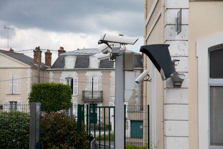 Silver CCTV Camera. Safety surveillance. Outdoor technology 版權商用圖片