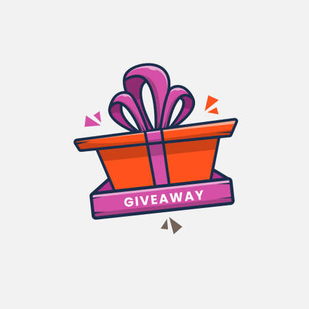 cartoon giveaway gift icon vector illustration