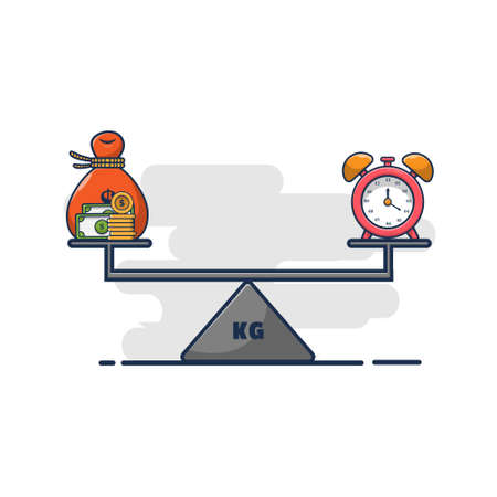 cartoon vector illustration design of money and scales. the design concept of time is money. flat cartoon style